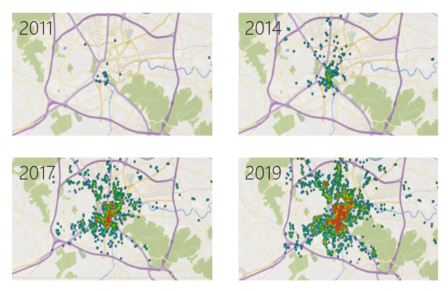 Series of maps showing the location of Airbnb listings in Ljubljana in 2011, 2014, 2017, and 2019. The series of maps show an increase in listings over time mainly concentrated in the city centre.