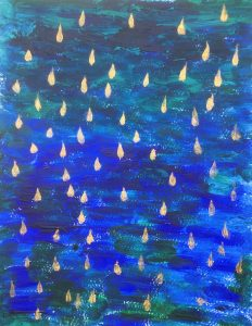 Painting by Julianna Priskin to accompany the above text. The original is A4 size acrylic on paper. The picture is dominated by strong colours of marine blue and aquamarine green. The picture has small 70 golden drops falling.