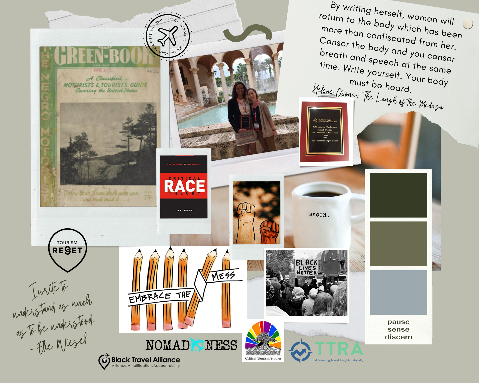 Visual representation of developing the body of work around racial and social justice through the Black travel movement