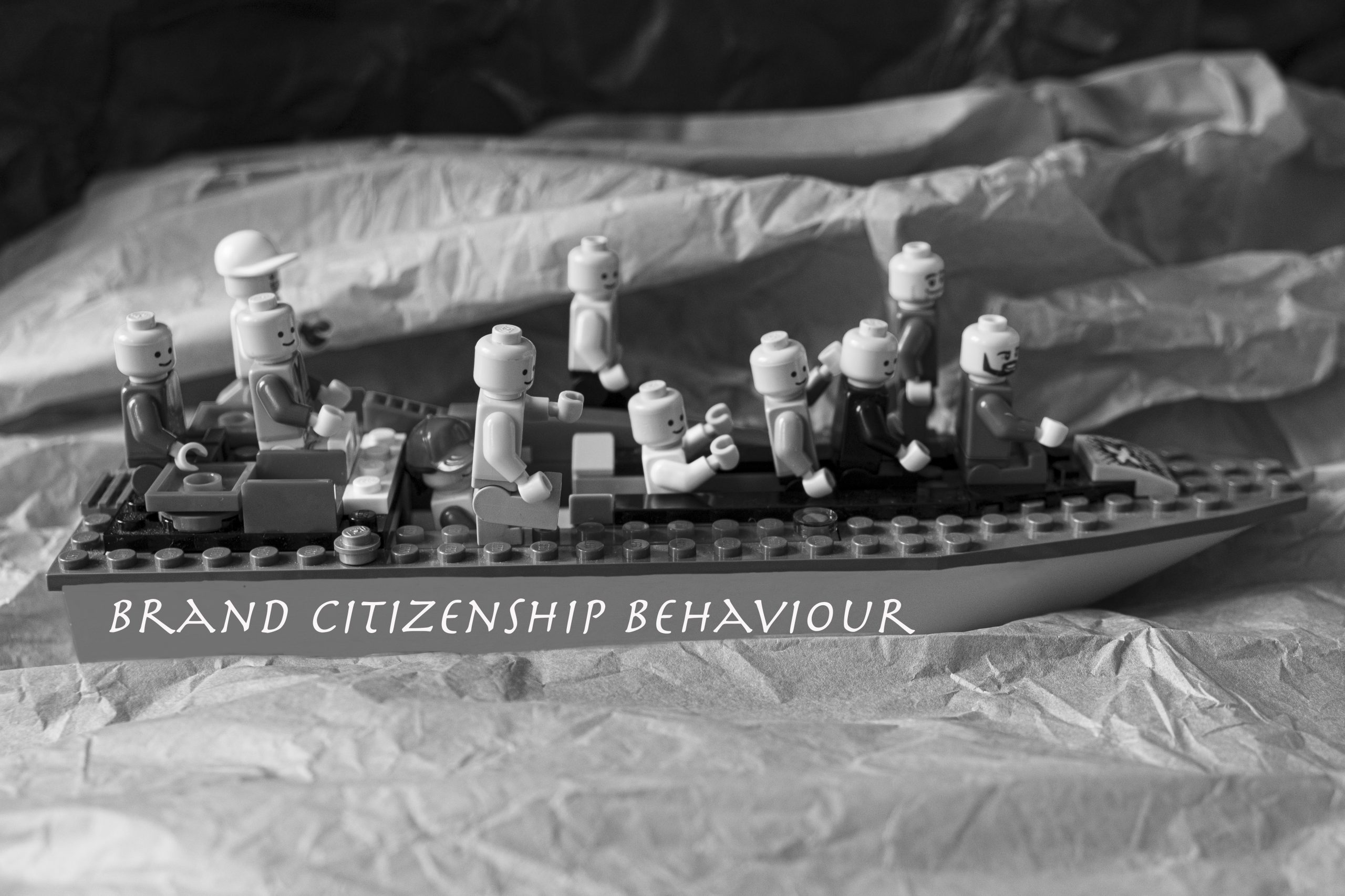 """Other brick figures on a boat called """"Brand Citizenship Behaviour"""""""