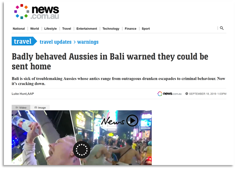 News story with the headline 'Badly behaved Aussies in Bali warned they could be sent home' and photos of people drinking and running.
