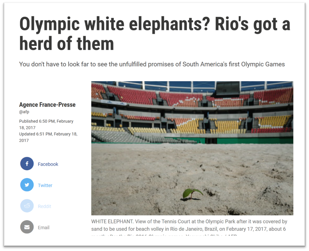 A news story with the headline 'Olympic white elephants? Rio's got a heard of them' and the sub-headline 'You don't have to look far to see the unfulfilled promises of South America's first Olympic Games