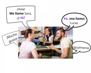 Image of couple introducing themselves with text in speech bubbles