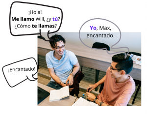 Image of two men talking with text in speech bubbles