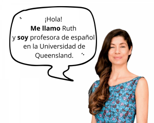 Image of UQ teacher with an introduction in a speech bubble