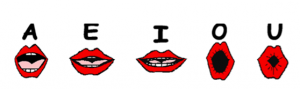 Cartoon image of red lips and how they look when pronouncing each of the vowels